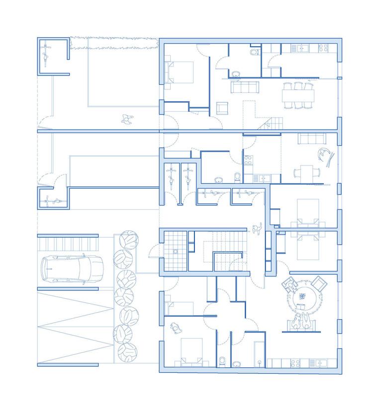 Planta - 6 Unidades de Habitação Social / Atelier 56S
