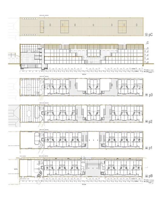 Plans - 46 Viviendas en antigua fábrica Fabra & Coats / Roldán + Berengué
