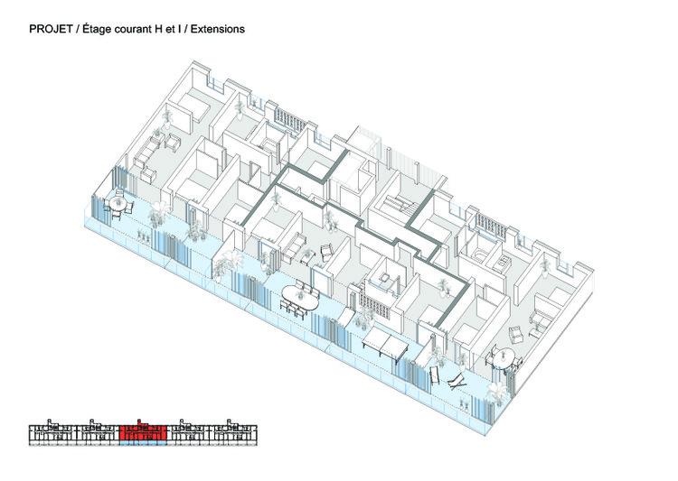Isométrica - Transformação de 530 unidades habitacionais em Bordeaux / Lacaton & Vassal + Frédéric Druot + Christophe Hutin architecture