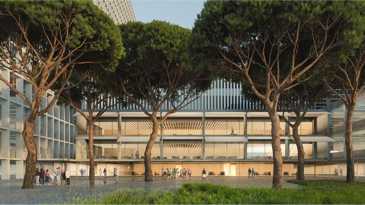 Jardines interiores y un 72% más de superficie: Cómo será la reforma integral del Hospital la Paz en Madrid, Imagen del acceso del campus. Image Cortesía de Burgos & Garrido Arquitectos + MAPAAC
