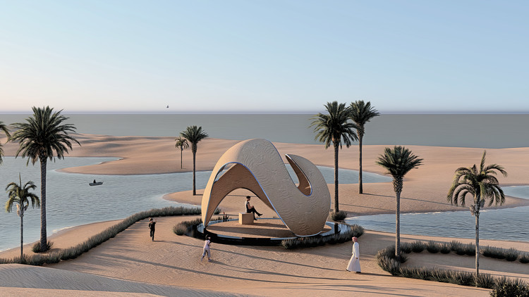 A 3D-Printed Majlis and Suspended Cliff Platforms: 10 Unbuilt Projects Submitted to ArchDaily , Courtesy of AArchitectsOffice