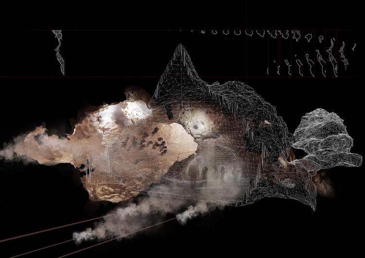 "Cave_bureau, ""Mbai Cave Steam + Struggle,"" The Anthropocene Museum: Exhibit 3.0 ""Obsidian Rain,"" 2017. Courtesy Cave_bureau. Image Courtesy of Biennale Architettura 2021"