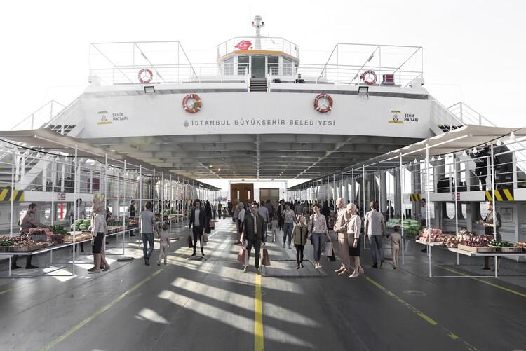 Han Tümertekin, View of the ferry market in Istanbul, 2019. Photo: Sena Özfiliz, 3d editing: Ali Gürer and Zeynep Tümertekin. Image Courtesy of Biennale Architettura 2021