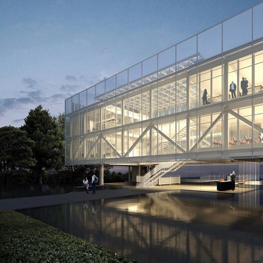 Render: AEAS New Headquarters. Image Courtesy of Estúdio Módulo