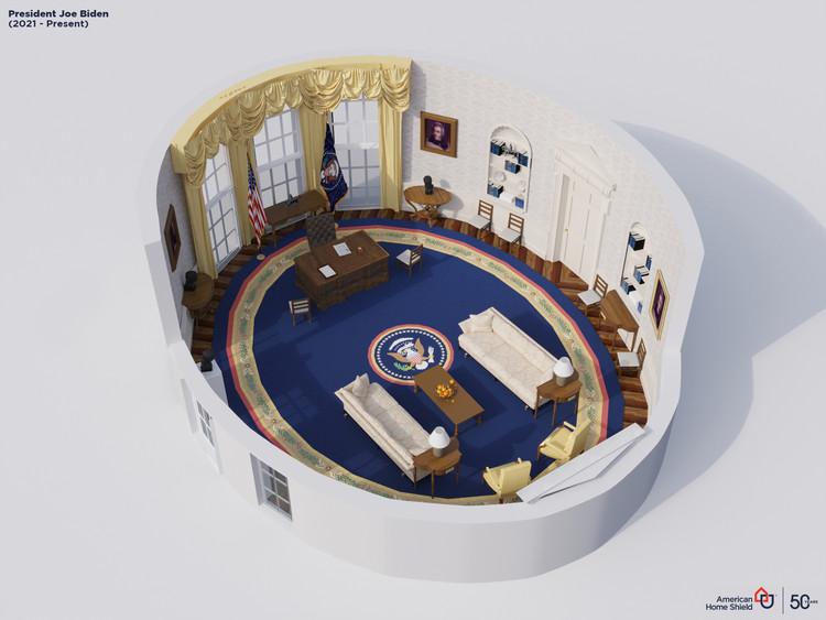 Serie de renders explora la evolución de la oficina presidencial de Estados Unidos desde 1909 a 2021, Joe Biden (2021-presente). Image Cortesía de American Home Shield