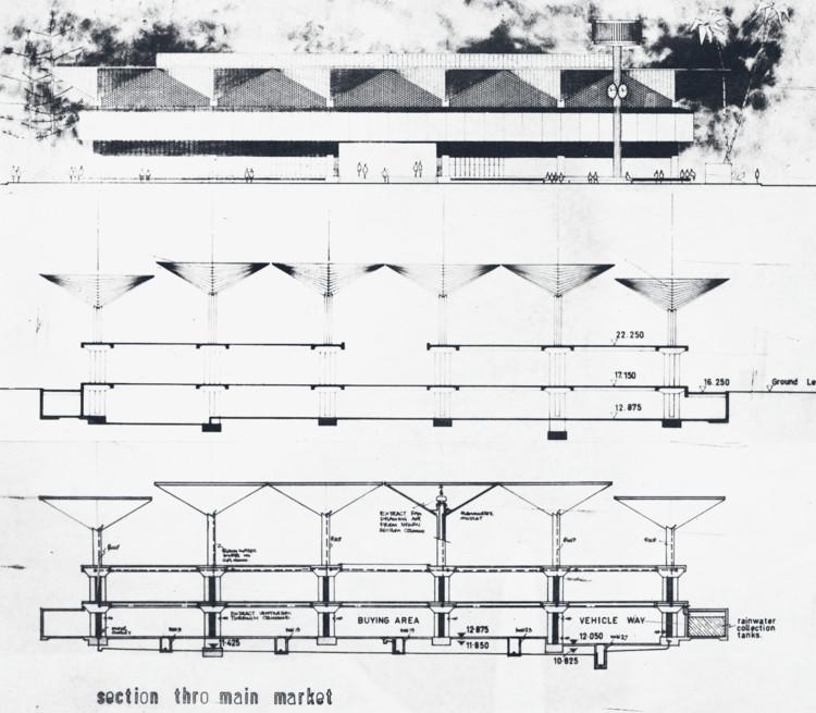 Section drawing of the Kariakoo Market by Beda Amuli. Image © Beda Amuli