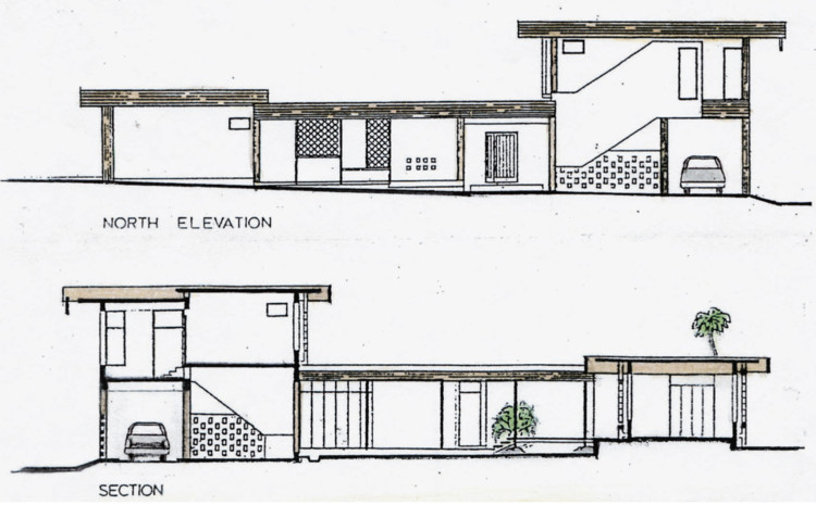 Section drawing of the Almeida Residence by Anthony Almeida. Image © Anthony Almeida