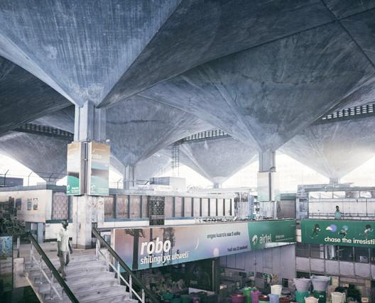 Interior of Kariakoo Market - edited by Matthew Maganga. Image © Benedikt Redmann