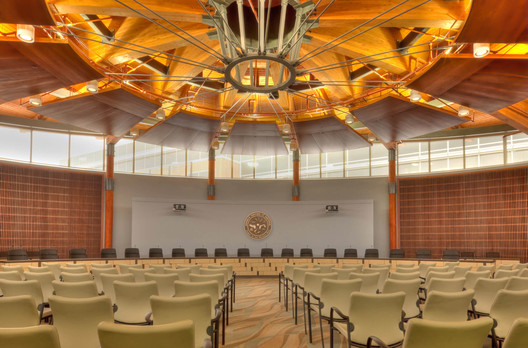 The radial glulam structure of the Seneca Nation's Allegany Council Chamber in Salamanca, New York, is patterned after the 13 lunar phases in tribal calendars. Image © Ivcave Photography. Courtesy Two Row Architect