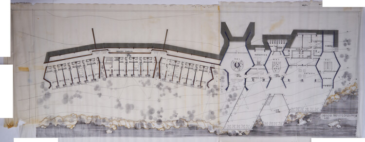 Drawing of Hotel Podgorica, architect Svetlana Kana Radevic, drawing from personal archives of architects belonging to the family.  Image courtesy of APSS Institute
