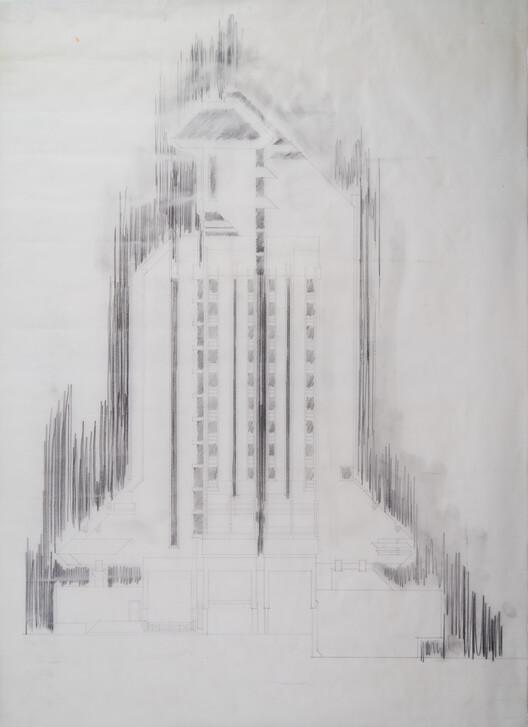 Architect Svetlana Kana Radević, architectural drawing, Hotel Zlatibor, Uzice, archive of architects.  Image courtesy of APSS Institute