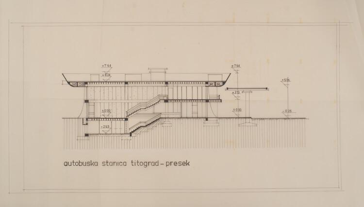 Titograd_Podgorica central bus station, architect Svetlana Kana Radević, architectural drawing, personal archive.  Image courtesy of APSS Institute