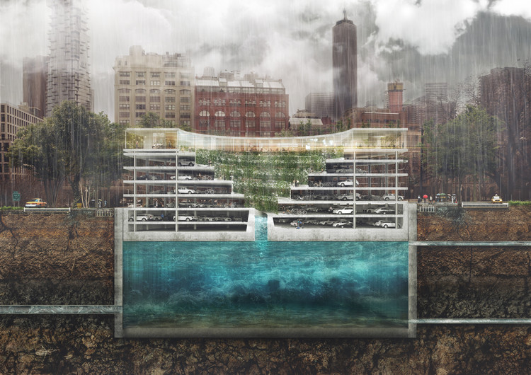 The all-in-one structure solves flooding, parking and the lack of green space in cities.  Image courtesy of THIRD NATURE