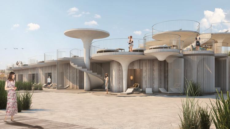 Esrawe Studio + Rojkind Arquitectos + Slade Architecture diseñan club de playa en Nueva Jersey, Estados Unidos, Renders: Yair Ugarte. Image © Esrawe Studio + Rojkind Arquitectos + Slade Architecture