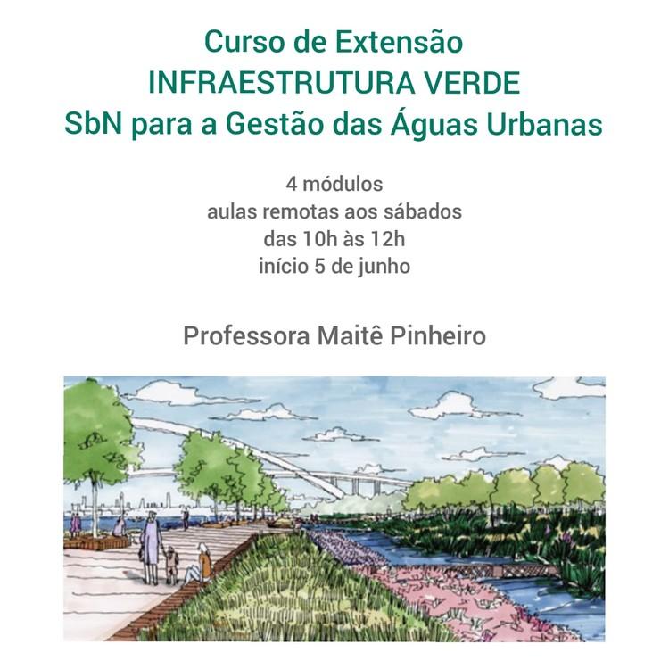 Curso de Extensão - Infraestrutura Verde - SbN para a Gestão das Águas Urbanas, Cartaz de apresentação do Curso de Extensão - Ilustração Shanghai Houtan Park, Turenscape. (Fonte: encuentura, 2014).