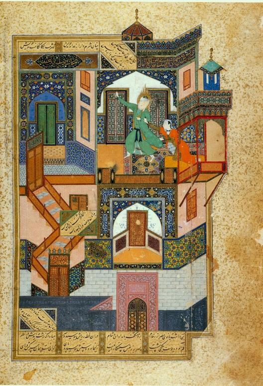 Yusuf and Zulaikha (Yusuf pursued by Potiphar's wife), miniature by Behzād, 1488. Image