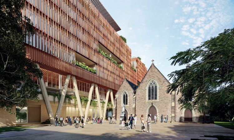 Brisbane Office Block to Hover Above Historic St. Patrick's Church, Courtesy of BVN
