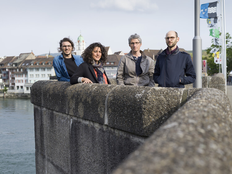 Mounir Ayoub, Vanessa Lacaille, Fabrice Aragno and Pierre Szczepski (from left to right), team responsible for the Swiss Pavilion at the 17th International Architecture Exhibition - La Biennale di Venezia in 2020 .. Image © Pro Helvetia / KEYST
