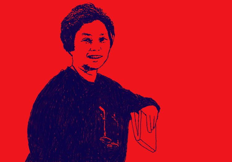 Tensões entre teoria e prática: movimentações de Mayumi de Souza Lima no período da redemocratização , lustração da arquiteta Mayumi de Souza Lima. Desenho autoral
