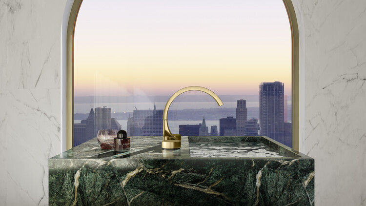 The CYO Metropolitan Bathroom with a City View . Image Courtesy of Dornbracht