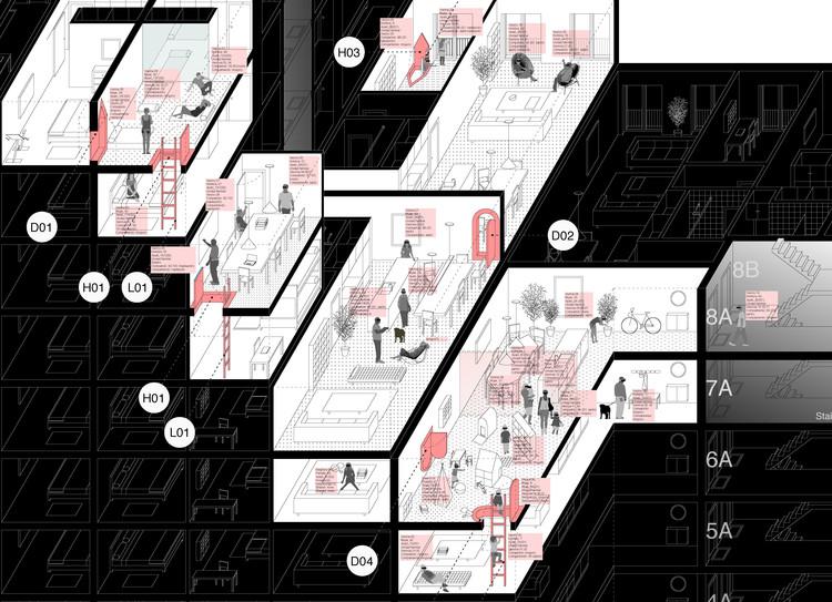 Rebeliones Cotidianas: Herramientas retroactivas para resetear nuestra vida doméstica y comunitaria, Bloque de viviendas genérico tras ser parcialmente hackeado (simulacro gráfico de modos subversivos de coexistencia). MAPAa, 2021.. Image Cortesía de Marcos Parga