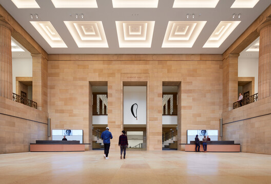 Lenfest Hall, facing east toward the Forum (below) and the Great Stair Hall (above) - Steve Hall, 2021. Image © Hall + Merrick Photographers