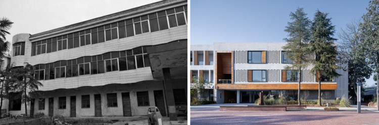Comparison of old and new of the township government building. Image Courtesy of HOMME ARCHITECTS