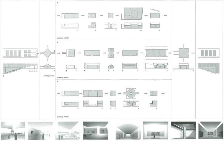 Hình minh họa các khe hở ánh sáng ban ngày trong sơ đồ mặt bằng, mặt cắt và phối cảnh cho Fondation d'Art Contemporain François Pinault, Paris (Pháp).  2001. Kiến trúc sư: Tadao Ando.  .  Hình ảnh © a + u (Ando 2002)