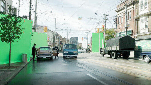 Toronto's Dundas and Ossington intersection, re-imagined as 1962 Baltimore by special effects studio MR. X for the film The Shape of Water. Image Courtesy of The Canadian Pavilion