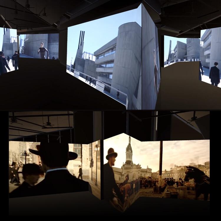 갤러리는 방문객을 영화 모드로 만들고 우리 그룹이 영화와 만나는 과정에서 건축 적 의미가 어떻게 나타나는지 경험하도록합니다.  이미지 제공 : Canadian Pavilion