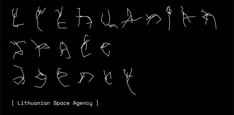 """LSA tapatybės dizainas: šriftas pagal žmogaus skeletą, 2021 m. © Julijonas Urbonas ir """"Studio Pointer"""" *.  .  Vaizdas sutinkamas su Lietuvos kosmoso agentūra"""