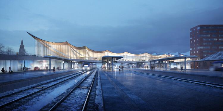 BIG desarrolla Västerås Travel Center, un nuevo centro que reúne diferentes modos de transporte bajo un mismo techo, Cortesía de PLAYTIME y Bjarke Ingels Group