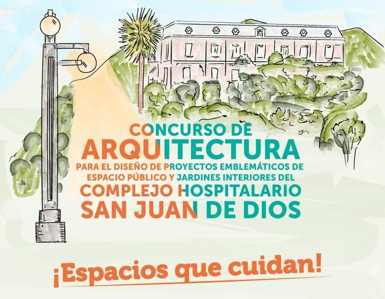 Concurso de arquitectura para el diseño de espacio público y jardines interiores del CHSJD, Afiche Concurso