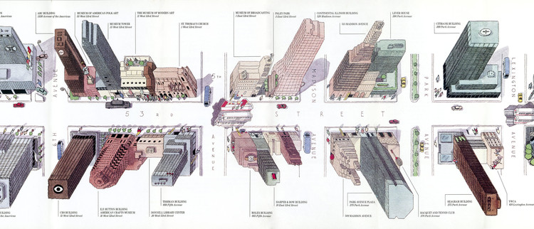 A Visual History of New York Told Through Its Diagrams, Maps and Graphics, Steven  Guarnaccia and Pentagram New York, A Walk on 53rd Street, map for 53rd Street Association, 1987.. Image Courtesy of Decoding Manhattan