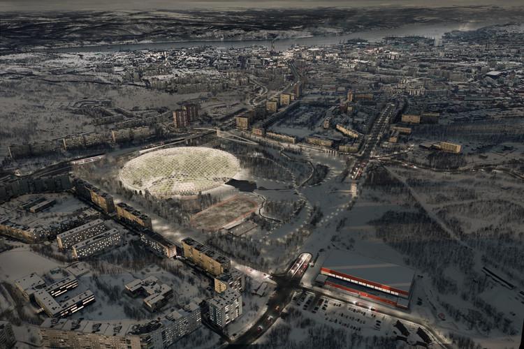 ¿Cómo se diseña un parque público en el Ártico?, Perspectiva Aérea. Image Cortesía de Erik Barrón