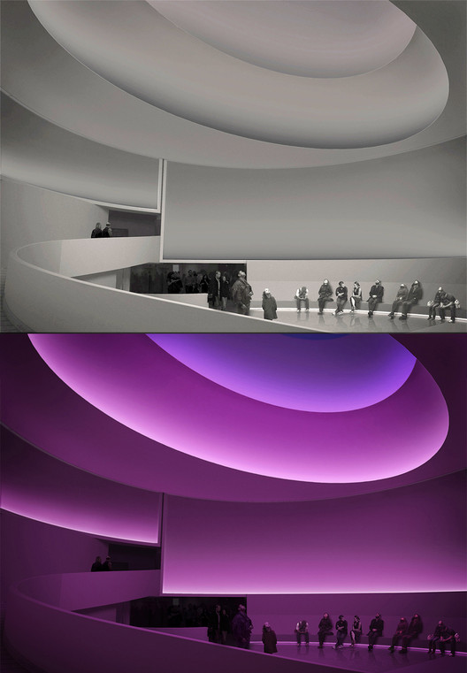 James Turrell: Rendering for Aten Reign, 2013. Daylight and LED light. Site-specific installation, Solomon R. Guggenheim Museum, New York. © James Turrell. Rendering: Andreas Tjeldflaat, 2012 © SRGF.. Image © James Turrell