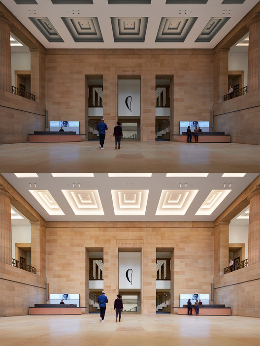 Lenfest Hall, facing east toward the Forum (below) and the Great Stair Hall (above) - Steve Hall, 2021.. Image © Hall + Merrick Photographers