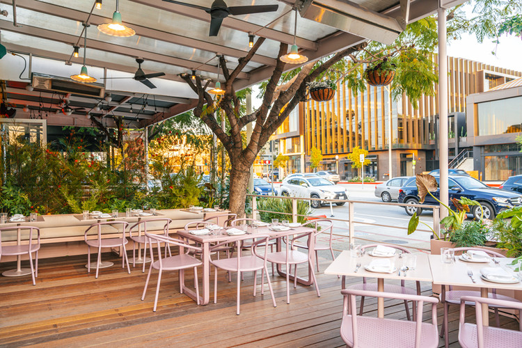 An elaborate outdoor dining setup is a draw at Piccalilli, a restaurant designed by Alexis Readinger in Culver City.. Image Courtesy of Piccalilli
