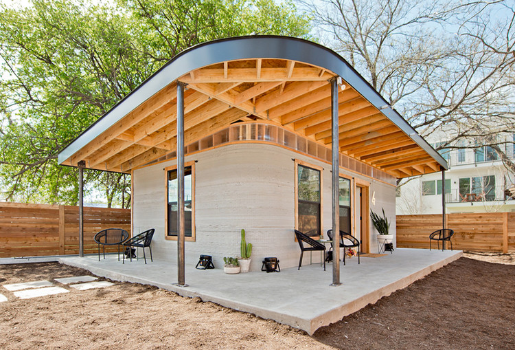 ICON and New Story 3D Printed Home in Texas. Image Courtesy of ICON and New Story