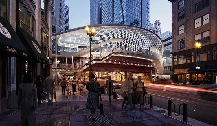 SOM e TranSystems redesenham a estação ferroviária elevada mais antiga de Chicago, Cortesia de Skidmore Owings & Merrill