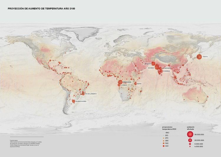 Proyecciones de aumento de temperatura al año 2100. Infografía publicada en Felipe Vera, Jeannette Sordi. (2021), P. 38-39.. Image Cortesía de Jeannette Sordi