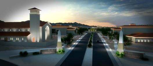 Передача сведений о проекте с помощью SketchUp и 3ds Max.  Проект: центр города Форт-Блисс в Эль-Пасо, штат Техас.  Изображение предоставлено SketchUp