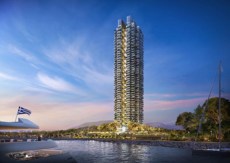 Foster+Partners divulga imagens do projeto da torre mais alta da Grécia, © dbox / Foster + Partners