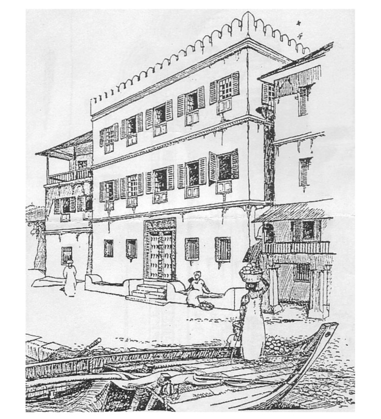 Height of a Stone Town house.  Image © PC Harris in The Arab Architecture of Sansibar ', Journal of the Royal Institute of British Architects, 1925