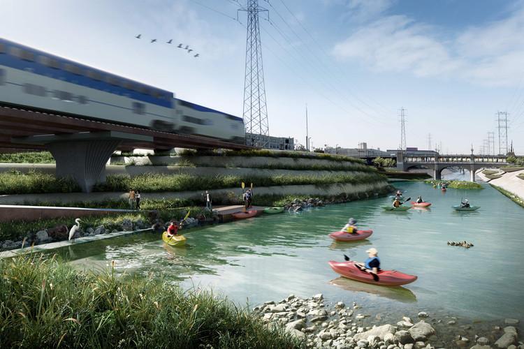 Studio-MLA revitalizará los espacios abiertos y senderos al borde del río Santa Ana en Riverside, California, Studio-MLA está adoptando las lecciones aprendidas del diseño del proyecto del río Los Ángeles, que se muestra aquí, al plan maestro de River-Side Gateway. Imagen cortesía de Studio-MLA