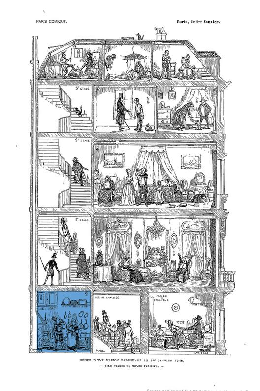 Разрез парижского здания.  1984. Изображение предоставлено Национальной библиотекой Франции.