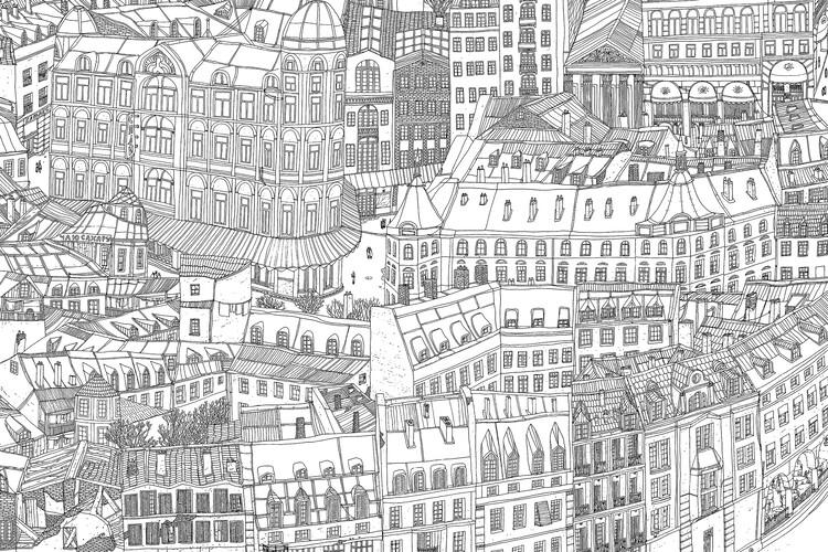 """""""Cidade Nanquim"""": artista cria cidade imaginária em mosaico de folhas A4, © Eloar Guazzelli, cortesia de IMS"""