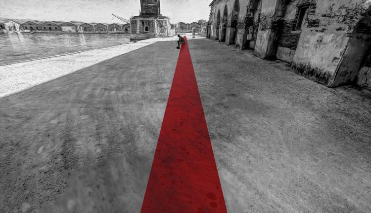 La Banca del Mundo, un proyecto con materiales reciclados para la Bienal de Arquitectura de Venecia 2021, Imagen objetivo. Montaje . Image Cortesía de Alexis Olivares Valencia