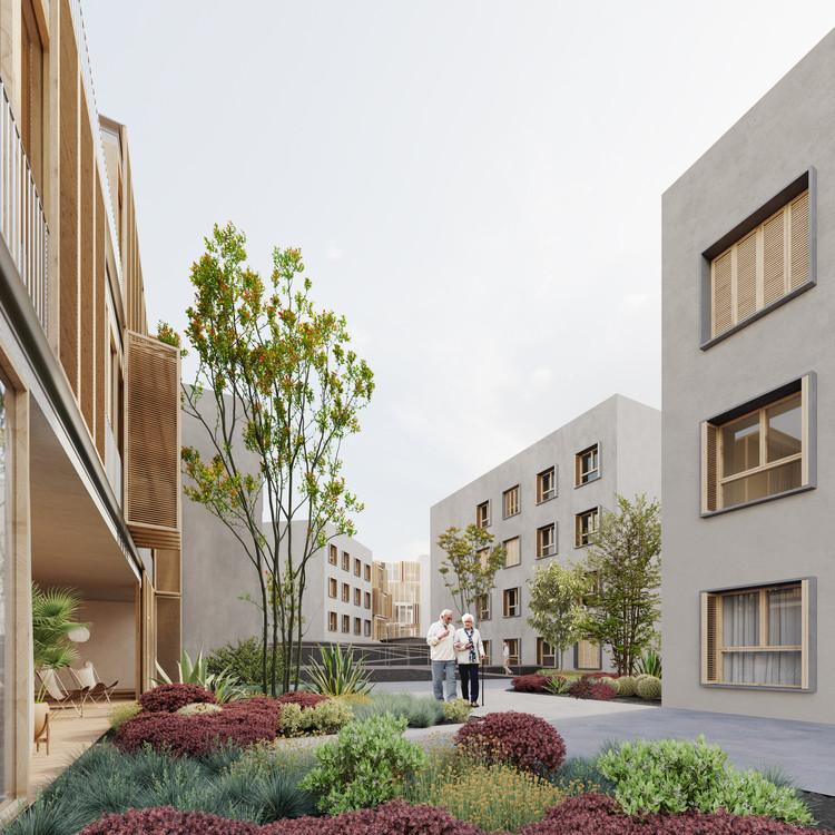 Burgos & Garrido Arquitectos diseñan una Residencia Insular de Mayores y Centro de Estancia Diurna en La Palma, Vista Oeste. Image Cortesía de Burgos & Garrido Arquitectos