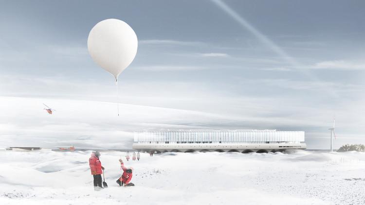 Centro Antártico Internacional recibe aprobación para su construcción en Chile, Fachada trasera. Image © Alberto Moletto + Cristóbal Tirado + Sebastián Hernández + Danilo Lagos